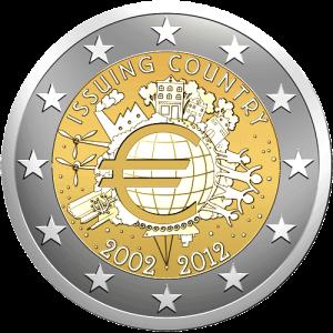 2 euro 2012 _ 10° anniversario dell'entrata in circolazione dell'euro