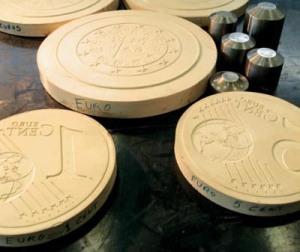 modelli di gesso delle monete alla zecca di Lisbona