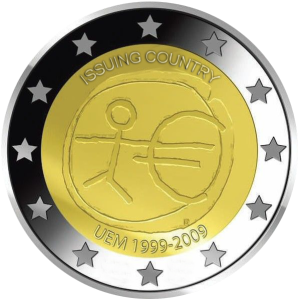 2 euro commemorativi 2009 10° anniversario dell'unione economica monetaria
