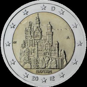 2 euro commemorativi Germany Bayern Castello di Neuschwanstein 2012